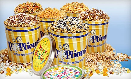 Gourmet Popcorn Bags or Tins at Poptions (Half Off). Three Options Available.