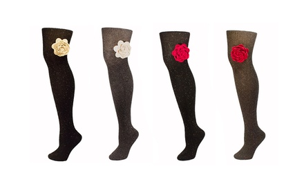 Minx Women's Speckled Wool Knee-High Socks with Felt Rose (2-Pack)