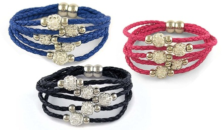 Genuine Leather Multi-Tier Bracelets with Austrian Crystals