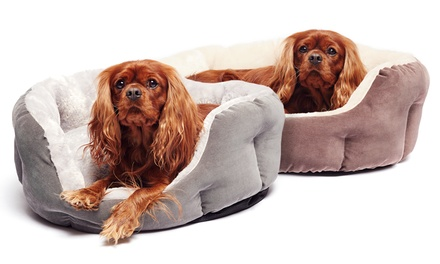 Tufted Corduroy Cuddler Bed in Dark Chocolate, Coffee, and Charcoal. Multiple Shapes From $49.99–$59.99