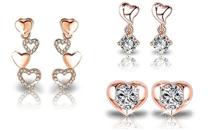 Brincos de ouro rosa Heart Dangle, Heart Row ou Heart Stud por 7,99€