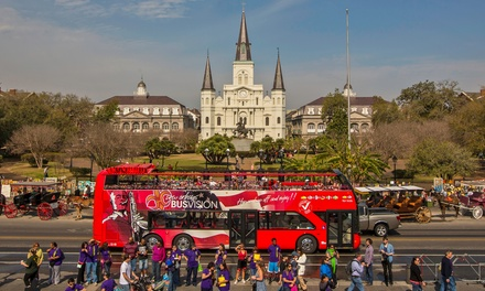 24-Hour Hop-On, Hop-Off City Bus Tour for One, Two, or Four from New Orleans BusVision (Up to 53% Off)