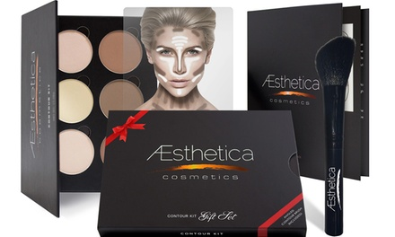 Aesthetica Cosmetics Contouring Kit or Gift Set with Angled Contour Brush