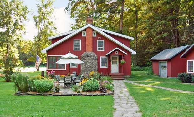 TripAlertz wants you to check out 1- or 2-Night Cabin Stay for Two with Artisan Baked Goods at Wellnesste Lodge in Taberg, NY Riverside Cabins near Adirondacks - Cabins near Adirondacks