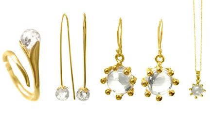 Prometeu: conjunto de brincos e anel ou pingente em prata e com citrinos por 34,90€