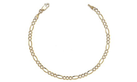 Solid 14K Gold Figaro Pave Chain Anklet