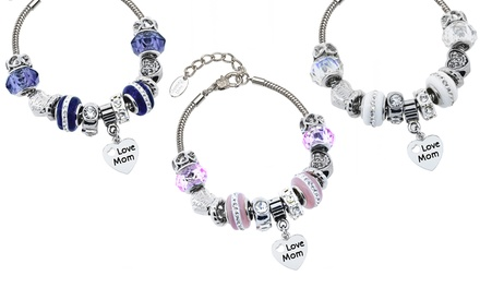 Crystal and Murano Bead Charm Bracelets with Swarovski Elements