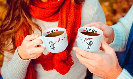 Conjunto de duas chávenas de café personalizáveis por 14,99€