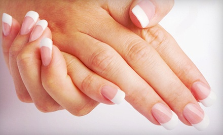 One Full Set of Clear or Pink-and-White Acrylic Nails at Grand Design Nail Salon (Up to 51% Off)