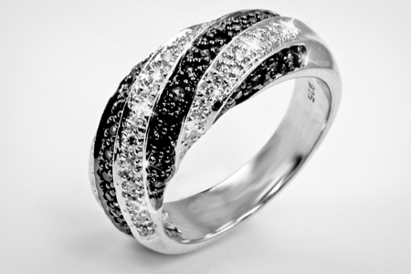 Black and White Diamond Twist Ring for £199.99 (82% Off)