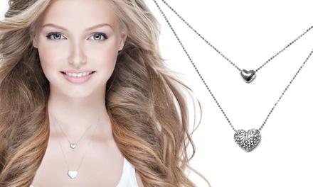 Colar com dois corações e Swarovski Elements por 8,99€ ou conjunto de colar e brincos por 10,99€