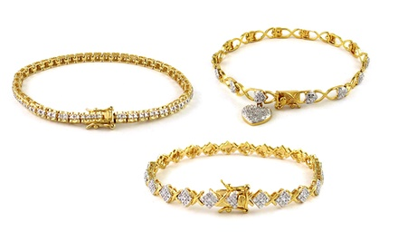 0.25 CTTW Diamond Bracelets in 18-Karat Gold-Plated Sterling Silver. Multiple Styles Available.