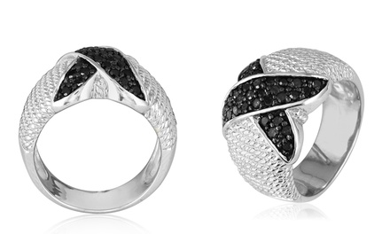 0.5 CTTW Black Diamond Ropework X Ring in Sterling Silver