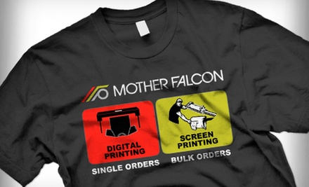 One or Two Custom T-shirts with Design Assistance at Mother Falcon (Up to 74% Off)