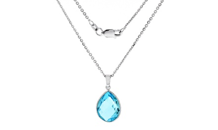 10.00 CTW Genuine Topaz Pendant in Sterling Silver