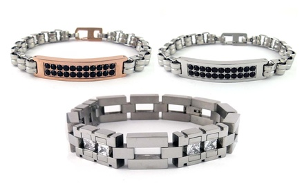 Men's Stainless Steel Bracelets with Cubic Zirconia. Multiple Styles Available.