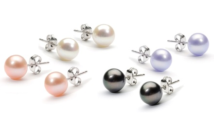 2 Pair Stud Earrings with Swarovski Elements Crystal Pearls in Black and Lavender or White and Peach