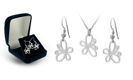 Brincos ou colar de prata em forma de borboleta desde 12,99€ ou conjunto de ambos por 19,99€