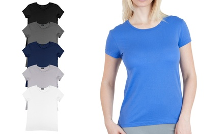 6-Pack of Agiato Women's Cotton Crew-Neck T-Shirts