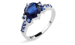 2.33 Cttw Blue Lab-created Sapphire Ring In 10k White Gold