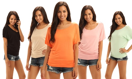 5-Pack of Women's Multicolor Draped Scoop-Necked T-shirts