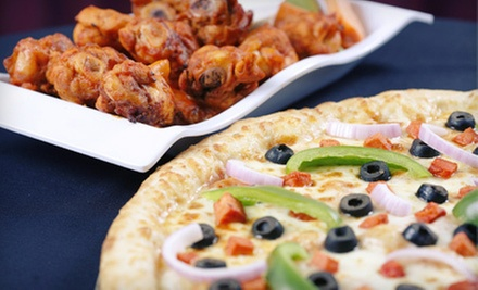 $19.99 for Two 18-Inch Pizzas, 12 Wings, 12 Garlic Knots, and a 2-Liter Soda at Big E's Pizza & Wings ($40 Value)