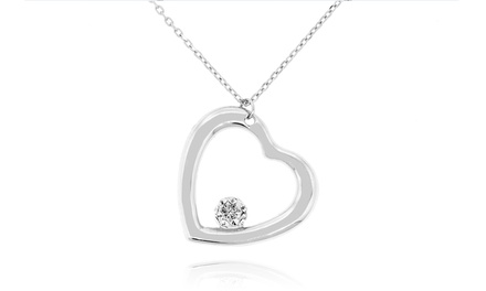Sterling Silver Floating Crystal Heart Pendant Made with Swarovski Elements