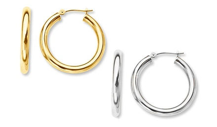 Solid 14K Gold or White Gold 12mm French Lock Hoop Earrings
