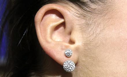Sterling Silver Swarovski Elements Double Crystal Ball Earrings