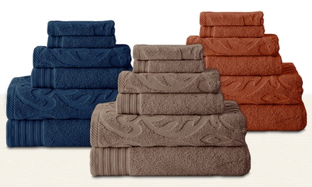 6-Piece Jacquard and Solid Cotton-Towel Set