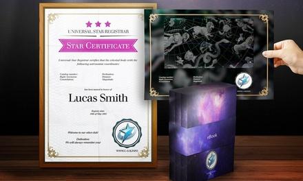 Pack 'A sua estrela no universo' em formato eletrónico com estrela personalizada com nome para oferecer por 14,95€
