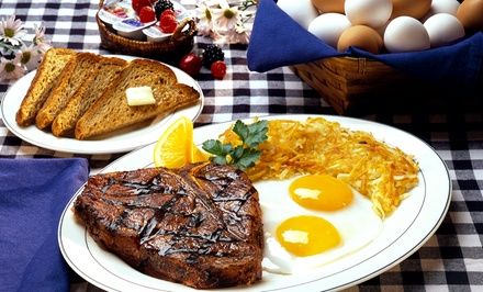 Breakfast, Lunch, or Dinner for Two or Four at The Steak Out (50% Off). Four Options Available.