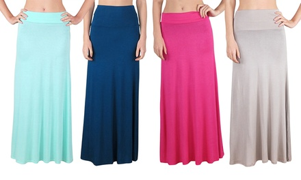 Women's Fold-Over Waist Maxi Skirt