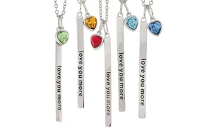 Love You More Birthstone Pendant With Swarovski Elements In Sterling Silver
