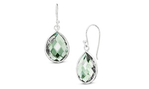 14.00 Cttw Genuine Green Amethyst Drop Earrings