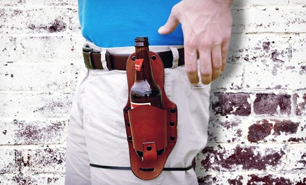 groupon daily deal - EcoKind Leather Drink Holster with Belt Clip. Free Returns.