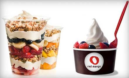 $12 for 5 Groupons, Each Good for $5 Worth of Frozen Yogurt, Smoothies & Parfaits at Red Mango ($25 Total Value)