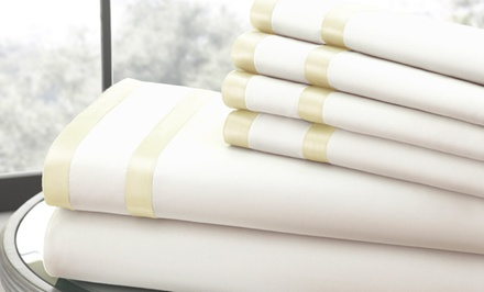 groupon daily deal - Italian Hotel Collection 1,000TC 6-Piece Sheet Set with Double Satin Band. Multiple Colors Available. Free Returns.