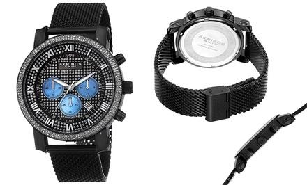 Akribos XXIV Men's Mesh Bracelet Diamond Chronograph Watch