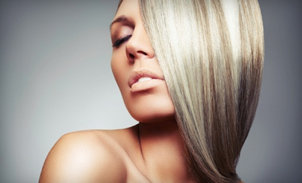 Express SmoothOut Treatment with Optional Shampoo, Cut, Blow-Dry, and Style at Pink The Beauty Boutique (Up to 56% Off)