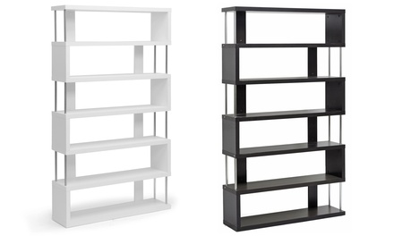 Barnes Six-Shelf Modern Bookcase in White or Brown