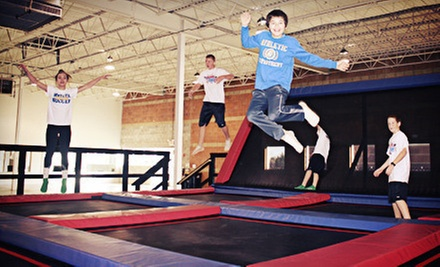 Two-Hour Trampoline or Trampoline and Laser-Tag Pass at Jump and Jam Activity Center (Up to 52% Off)