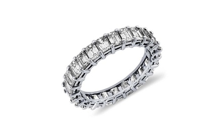 18K White Gold Emerald-Cut Eternity Ring