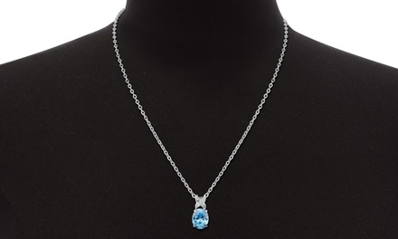 3.50 CTTW Blue Topaz and Diamond Necklace
