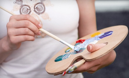 $25 for an Adult Acrylic-Painting Class with Glass of Wine at Uncork'd Art ($50 Value)