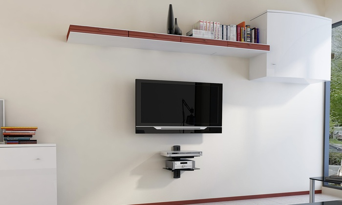 argom tv wall mount component shelves groupon. Black Bedroom Furniture Sets. Home Design Ideas