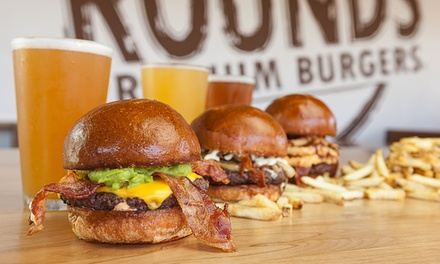 Burgers, Fries, and Beers for Two or Four at Rounds Premium Burgers--Pasadena (Up to 45% Off)