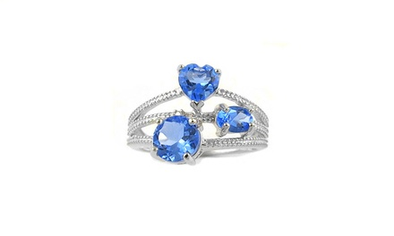 2.50 CTTW Genuine Tanzanite Ring with Diamond Accents in Sterling Silver