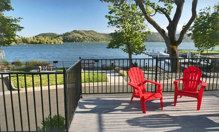 groupon daily deal - 1- or 2-Night Stay for Two with Wine and Kayak Rental at Clear Lake Cottages & Marina—Clearlake, CA
