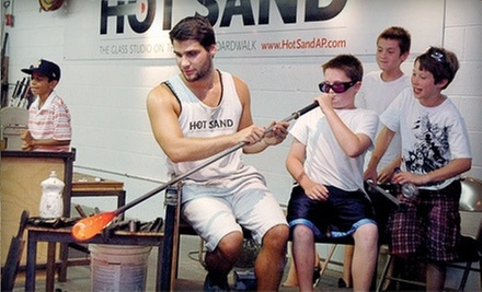 Blow-A-Bubble Glass-Blowing Experience or QuickCast Experience for One or Two at Hot Sand Glass Studio (Up to 56% Off)